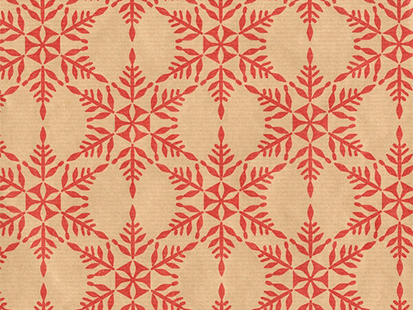 "Red Snowflakes  30"" x 417' Half Ream Roll Gift Wrap"