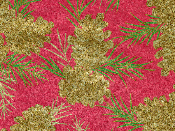 """Passion For Pinecones  24"""" x 833' Full Ream Gift Wrap (Metallized)"""