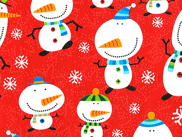 """Jovial Snowmen Wrapping Paper 30"""" x 417', Half Ream Roll"""