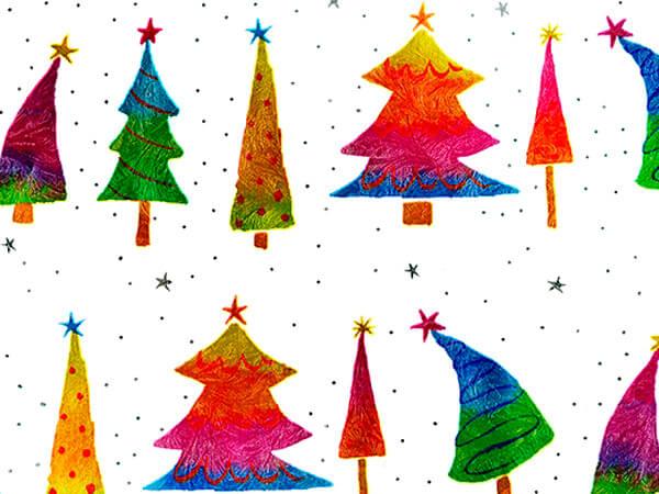 "Rainbow Trees Metallized Gift Wrap 30"" x 417', Half Ream Roll"