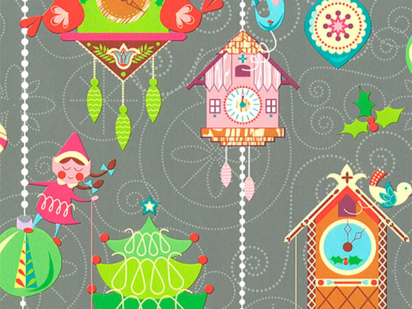 """Coo Coo For Xmas  24"""" x 417' Half Ream Roll Gift Wrap"""
