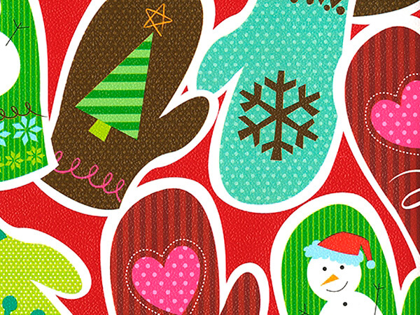 """Scattered Mittens  30"""" x 417' Half Ream Roll Gift Wrap"""