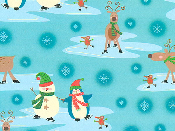 """Skating with Mice  26"""" x 417' Half Ream Roll Gift Wrap"""