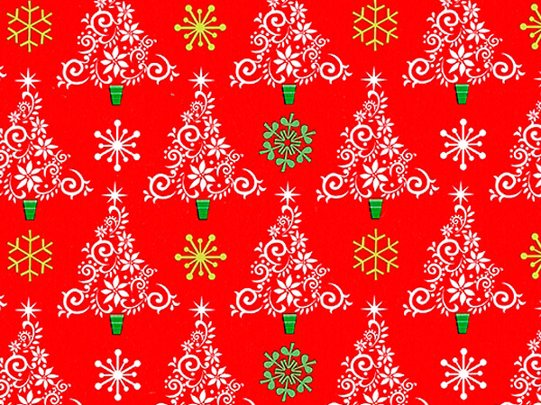"Trees & Flakes  24"" x 833' Full Ream Roll Gift Wrap"