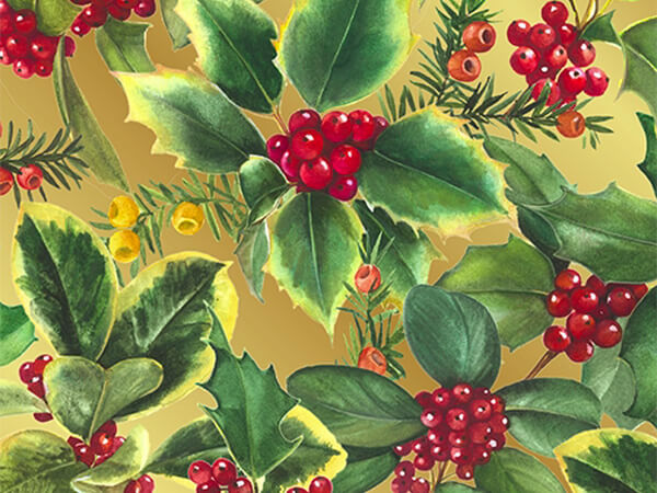 "Holly Berries on Gold 26"" x 417' Half Ream Gift Wrap (Metallized)"