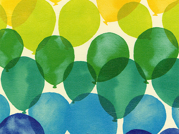 """Ombre Balloons  24"""" x 417' Half Ream Roll Gift Wrap"""