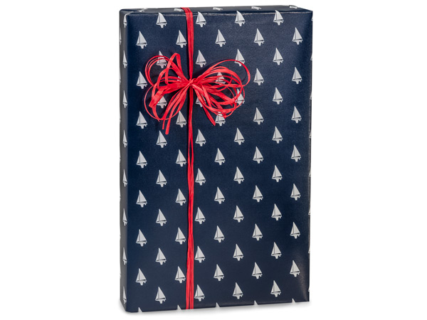 "Navy Blue Sailboats  18"" x 833' Full Ream Roll Gift Wrap"
