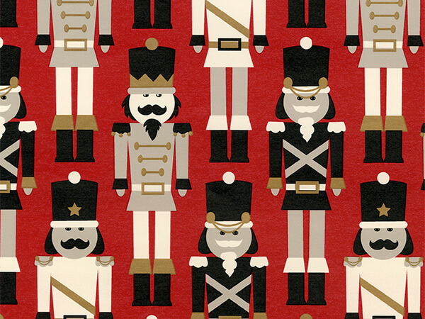 """Red/Gold Soldiers  30"""" x 417' Half Ream Roll Gift Wrap"""