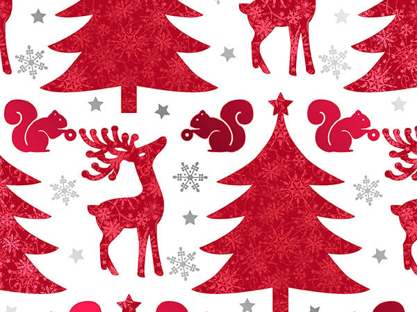 """Red Deer and Trees  26"""" x 417' Half Ream Gift Wrap (Metallized)"""