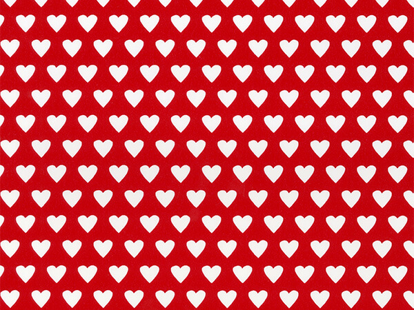 """White Hearts on Red  26"""" x 833' Full Ream Roll Gift Wrap"""