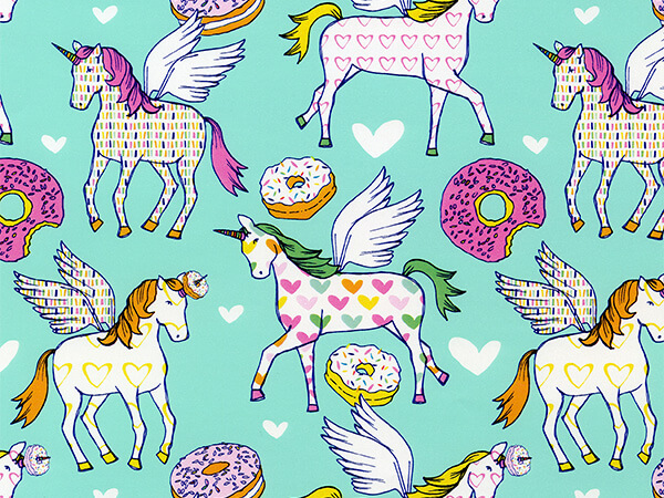 "Unicorns Donut Exist  24"" x 833' Full Ream Roll Gift Wrap"
