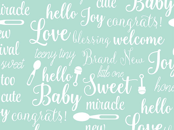 """Wishes for Baby  26"""" x 417' Half Ream Roll Gift Wrap"""