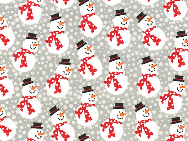 "Mini Frosties with Red Scarf 18"" x 417' Half Ream Roll Gift Wrap"
