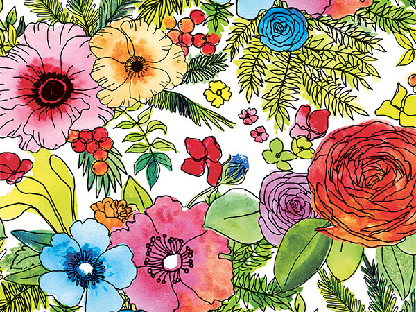 """Inflorescence 30"""" x 417' Half Ream Roll Gift Wrap"""