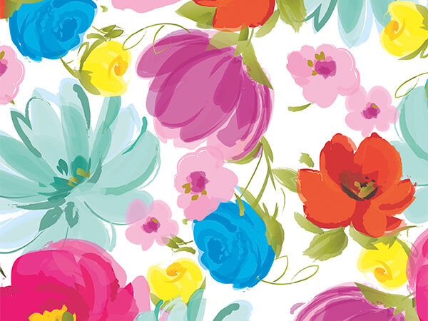 "Painted Garden 30"" x 417' Half Ream Roll Gift Wrap"