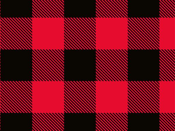 "Red & Black Buffalo Plaid 24"" x 417 Half Ream Roll Gift Wrap"