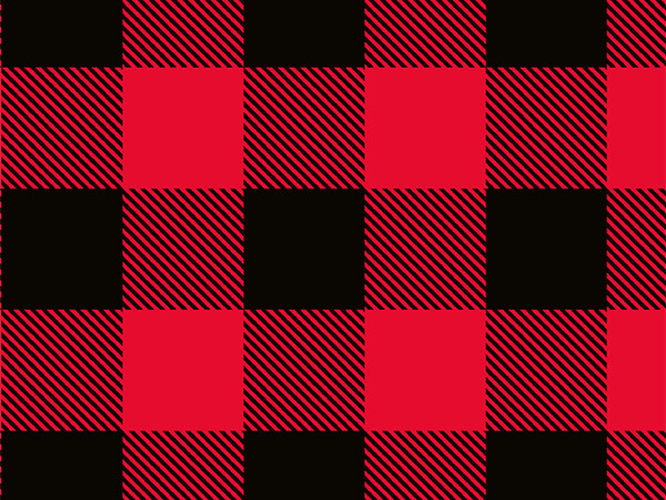"Red & Black Buffalo Plaid 30"" x 417 Half Ream Roll Gift Wrap"