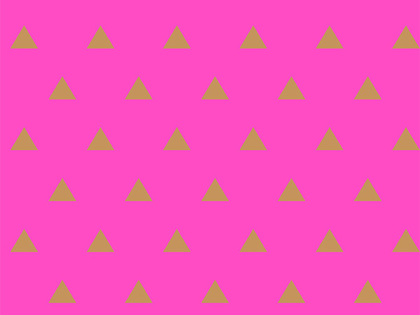 "Gold Triangles on Hot Pink 26""x417' Half Ream Roll Gift Wrap"