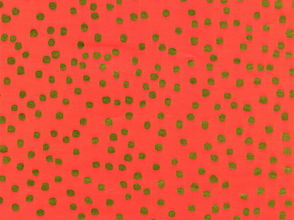 "Gold Dots on Coral 30"" x 417' Half Ream Gift Wrap (Metallized)"