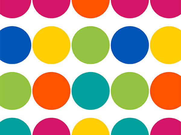 "Colorful Big Dots 30"" x 417' Half Ream Roll Gift Wrap"