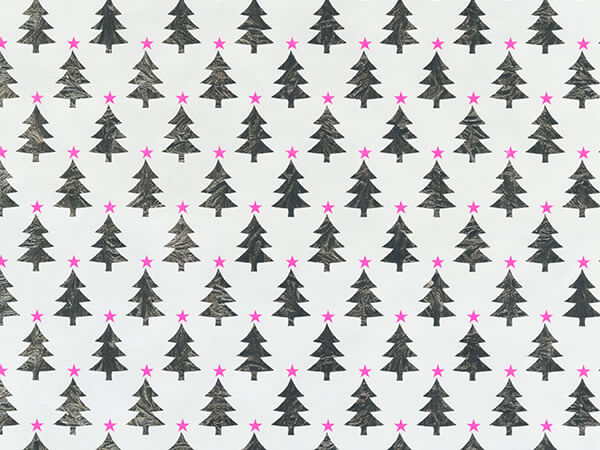 "Neon Star Trees 30"" x 833' Full Ream Gift Wrap (Metallized)"