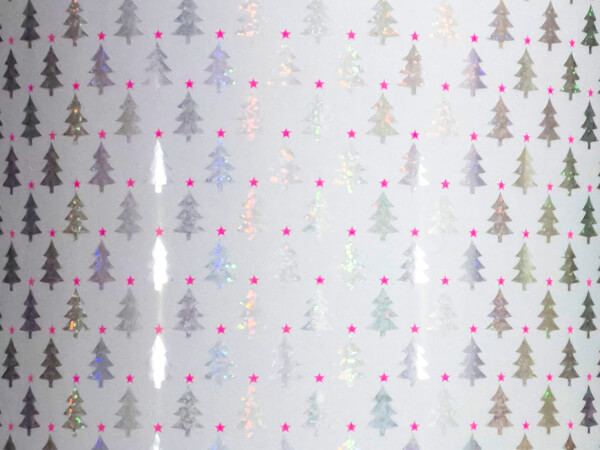 """Mini Holographic Trees Wrapping Paper, 30"""" x 417', Half Ream Roll"""