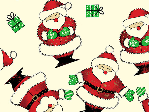 "Santa On Cream 18"" x 417' Half Ream Roll Gift Wrap"