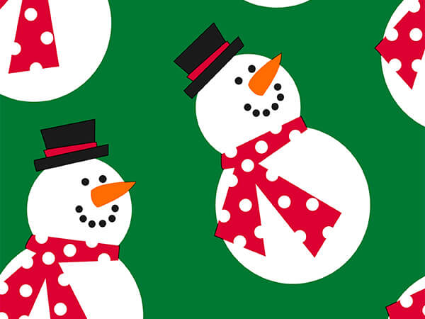 "Frosty On Green 30"" x 417' Half Ream Roll Gift Wrap"