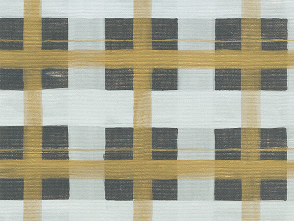 "Silver and Gold Plaid 30"" x 833' Full Ream Gift Wrap (Metallized)"