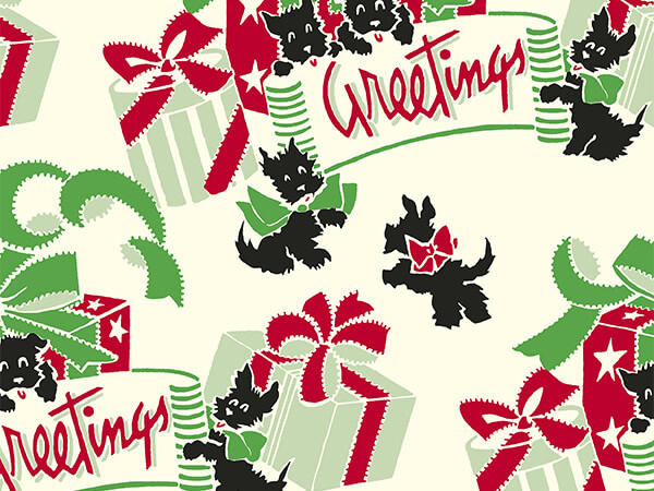 "Terrier Greetings 26"" x 417' Half Ream Roll Gift Wrap"