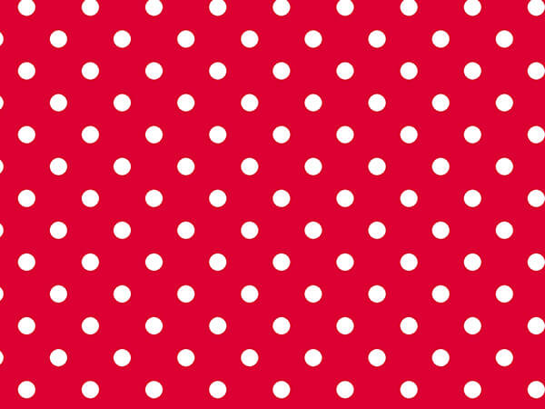 "Red and White Polka Dots 24""x833' Full Ream Roll Gift Wrap"