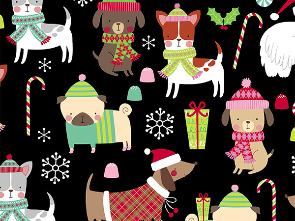 """Christmas Dogs 26"""" x 833' Full Ream Roll Gift Wrap"""