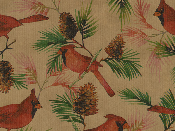 "Pinecones & Cardinals 26"" x 833' Full Ream Roll Gift Wrap"
