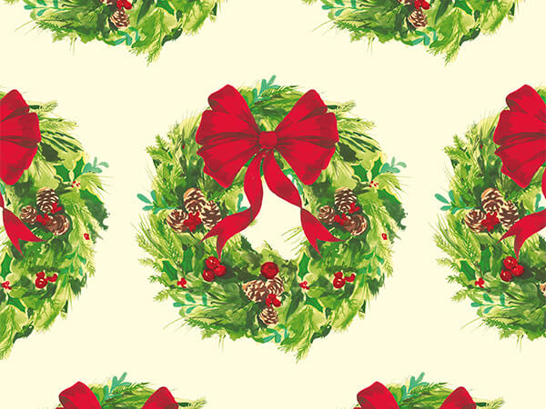 "Wreaths 30"" x 417' Half Ream Roll Gift Wrap"