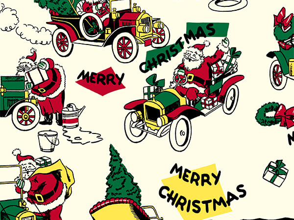 "Vintage Santa/Car 24"" x 833' Full Ream Roll Gift Wrap"