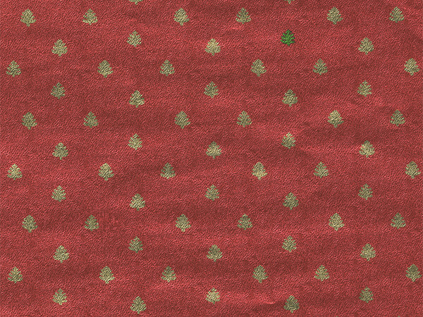"""Teeny Tiny Red Trees 30"""" x 833' Full Ream Gift Wrap (Metallized)"""