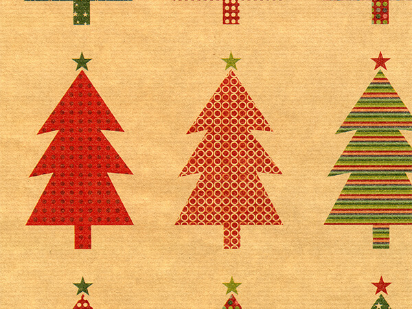 "Shapely Trees on Kraft 24"" x 417' Half Ream Roll Gift Wrap"