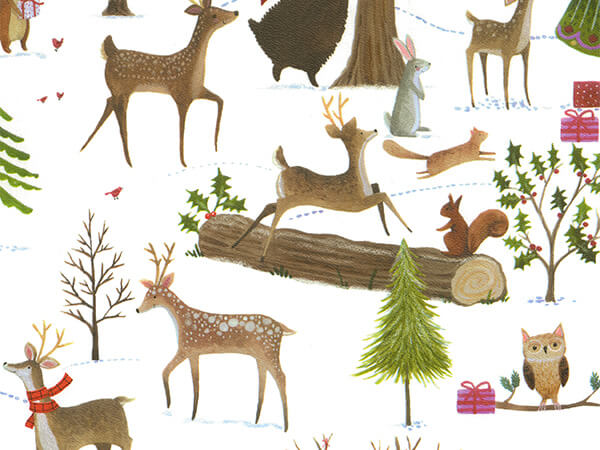 """Christmas Woods Wrapping Paper 24"""" x 417', Half Ream Roll"""