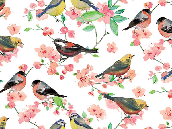 "Birds & Blossoms 30"" x 417' Half Ream Roll Gift Wrap"