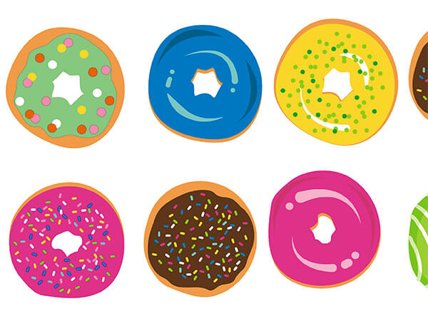 """Colorful Donuts 18"""" x 417' Half Ream Roll Gift Wrap"""