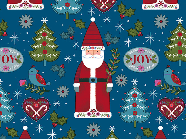 """Folksy Santa 24"""" x 417' Half Ream Roll Gift Wrap"""