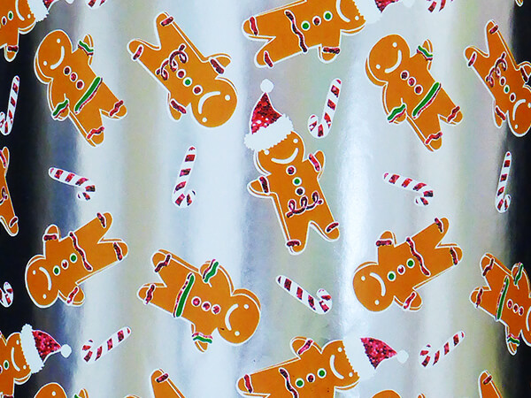 """Gingerbread Boy Wrapping Paper 30"""" x 833', Full Ream Roll"""