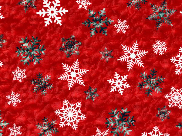 """White Snowflake on Red 24"""" x 833' Full Ream Gift Wrap (Metallized)"""