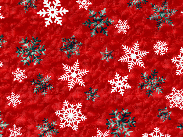 """White Snowflake on Red Metallized Gift Wrap, 26"""" x 417', Half Ream"""