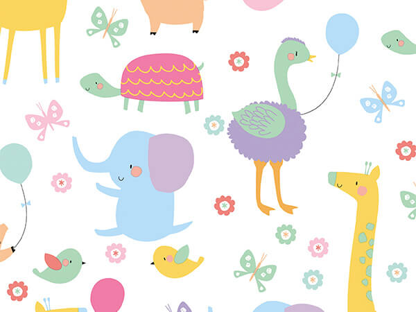 "Tweet Baby Animals 18"" x 417' Half Ream Roll Gift Wrap"