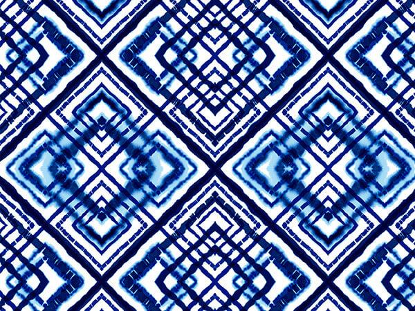 "Blue Shibori Diamonds 24"" x 417' Half Ream Roll Gift Wrap"