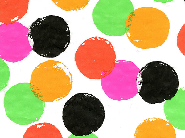 """Neon Party Dots 18"""" x 833' Full Ream Roll Gift Wrap"""