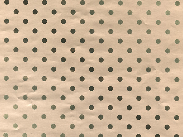 "Champagne Polka Dots 24"" x 417' Half Ream Gift Wrap (Metallized)"