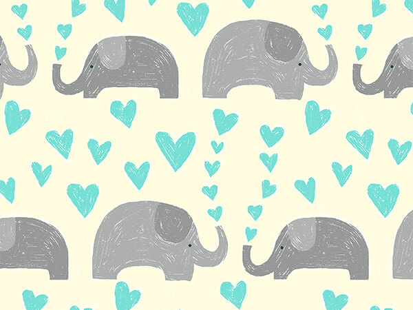 "Baby Elephants 30"" x 833' Full Ream Roll Gift Wrap"