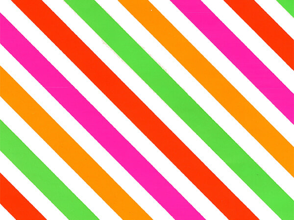 "Neon Diagonal Stripe 30"" x 833' Full Ream Roll Gift Wrap"